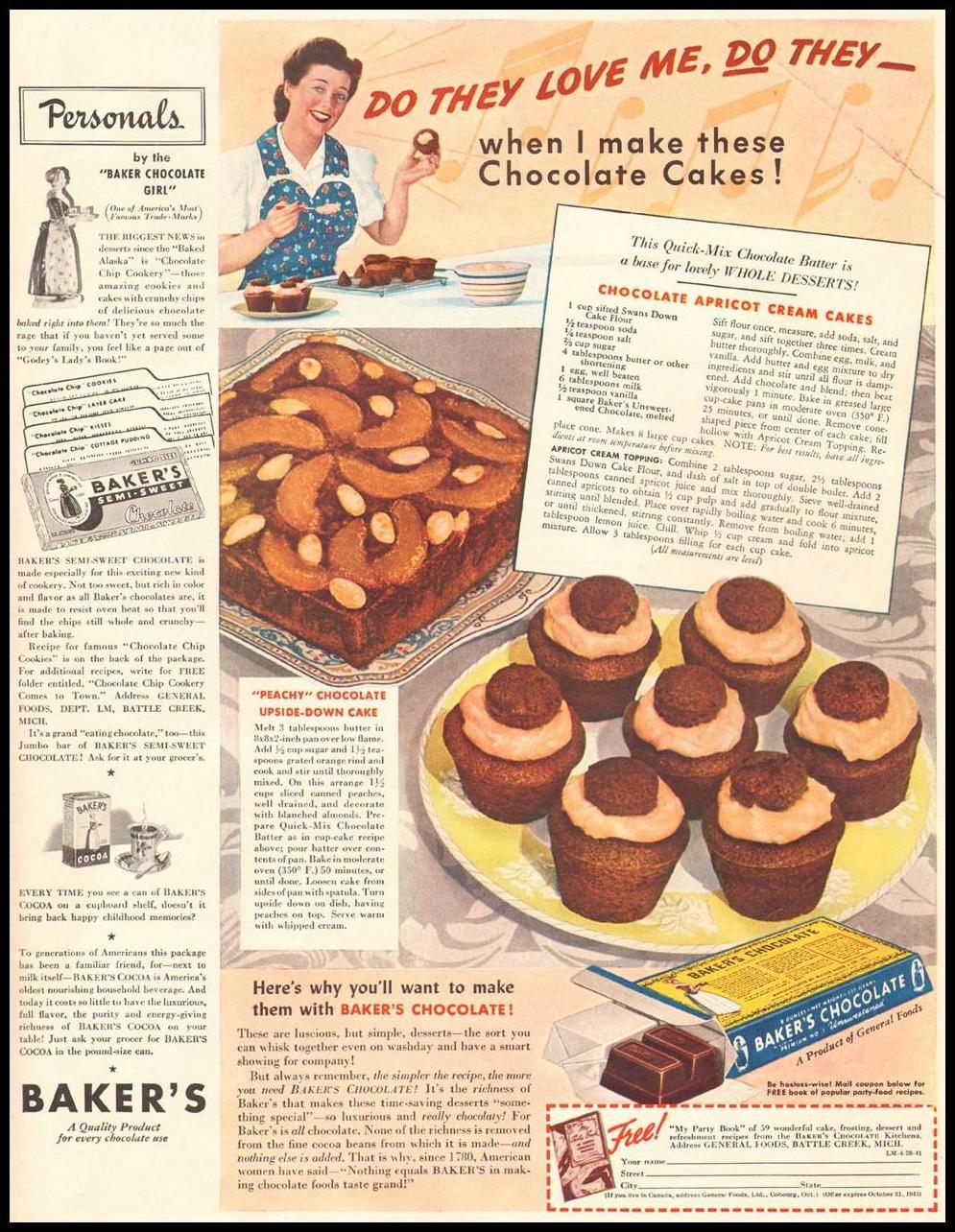 BAKER'S CHOCOLATE LIFE 04/28/1941 INSIDE BACK
