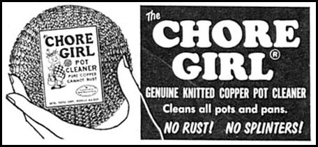 CHORE GIRL KNITTED COPPER POT CLEANER FAMILY CIRCLE 02/01/1956 p. 92
