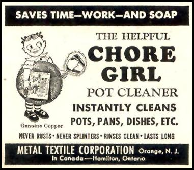 CHORE GIRL KNITTED COPPER POT CLEANER WOMAN'S DAY 03/01/1948 p. 100