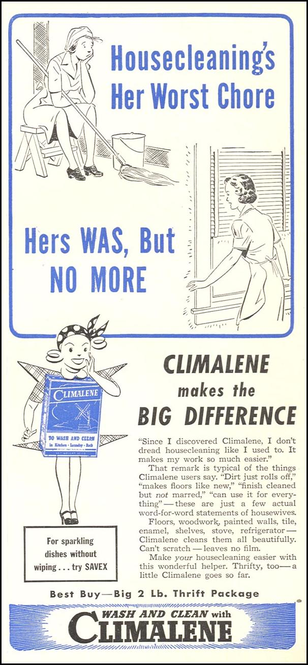 CLIMALENE DETERGENT WOMAN'S DAY 04/01/1943 p. 75