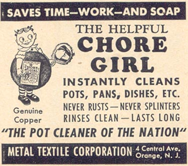 CHORE GIRL KNITTED COPPER POT CLEANER WOMAN'S DAY 09/01/1947 p. 100