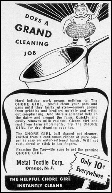 CHORE GIRL KNITTED COPPER POT CLEANER WOMAN'S DAY 11/01/1940 p. 60