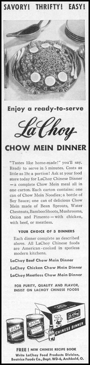 LA CHOY CHINESE DINNER WOMAN'S DAY 10/01/1949 p. 26