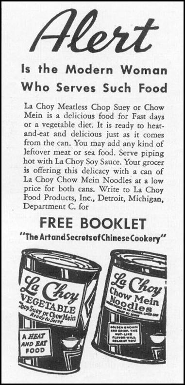 LA CHOY CHOP SUEY VEGETABLES WOMAN'S DAY 03/01/1939 p. 51