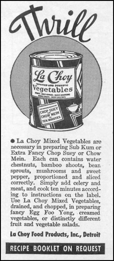 LA CHOY MIXED VEGETABLES WOMAN'S DAY 11/01/1938 p. 41