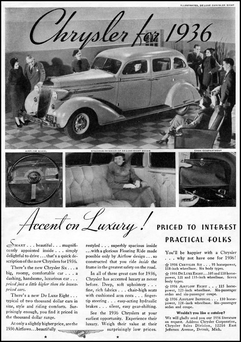 CHRYSLER AUTOMOBILES GOOD HOUSEKEEPING 12/01/1935 p. 15