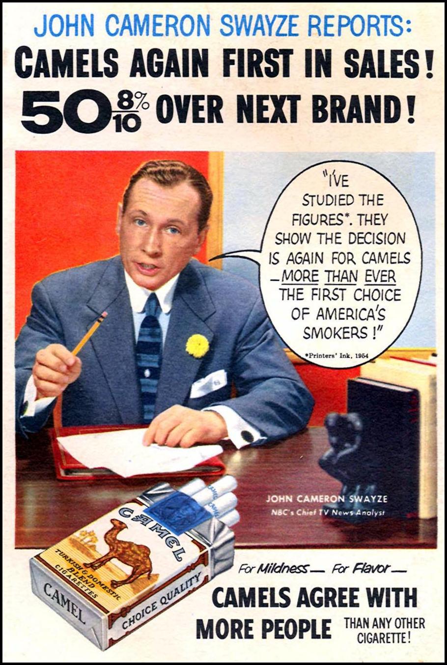CAMEL CIGARETTES CORONET 07/01/1954 BACK COVER