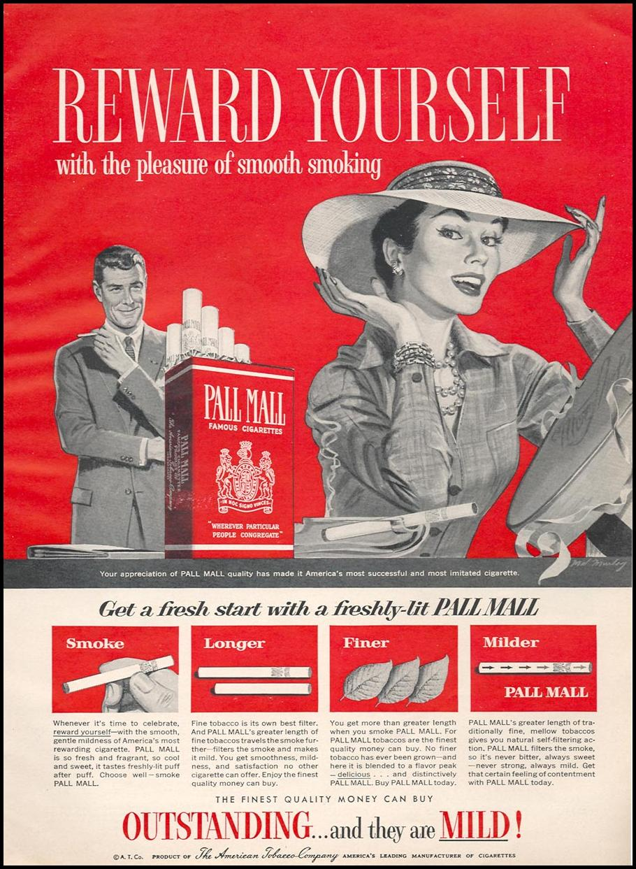 PALL MALL CIGARETTES WOMAN'S DAY 04/01/1956 p. 86