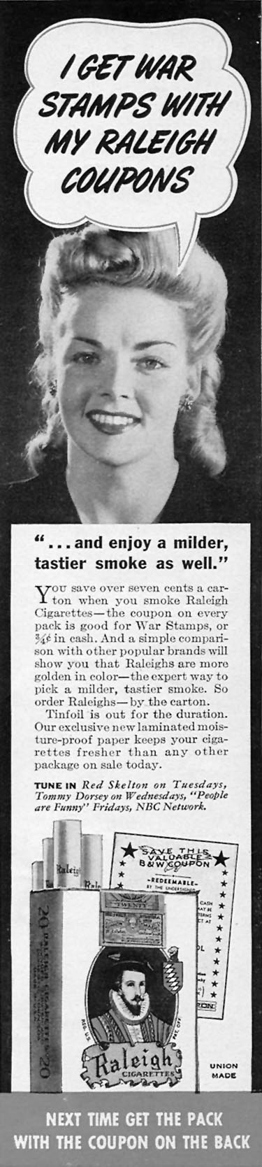 RALEIGH CIGARETTES WOMAN'S DAY 06/01/1943 p. 15