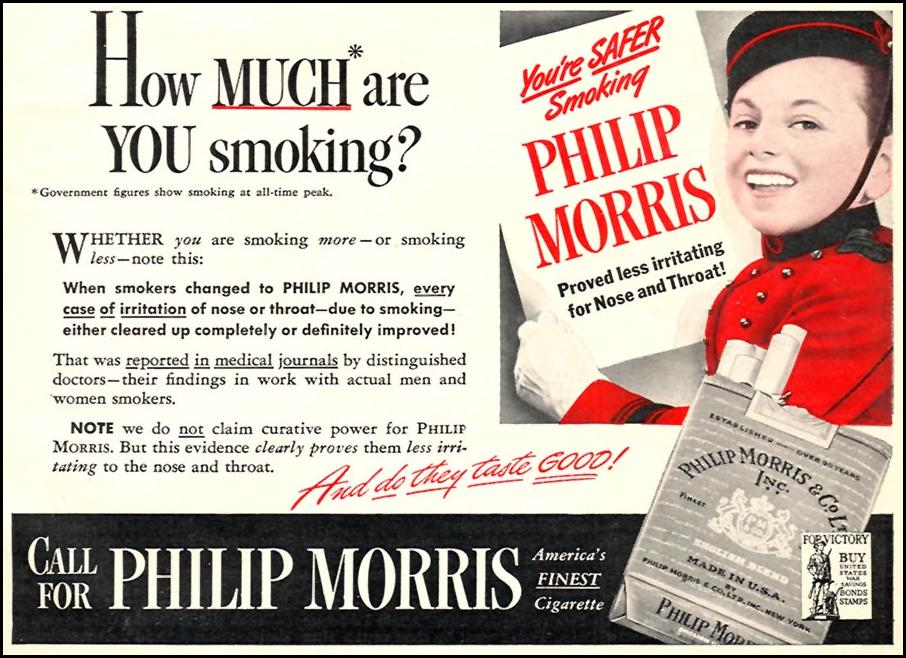 PHILIP MORRIS CIGARETTES WOMAN'S DAY 06/01/1943 p. 61