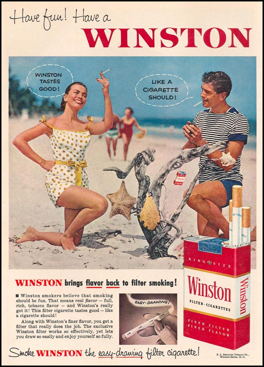 WINSTON CIGARETTES WOMAN'S DAY 09/01/1955 p. 58