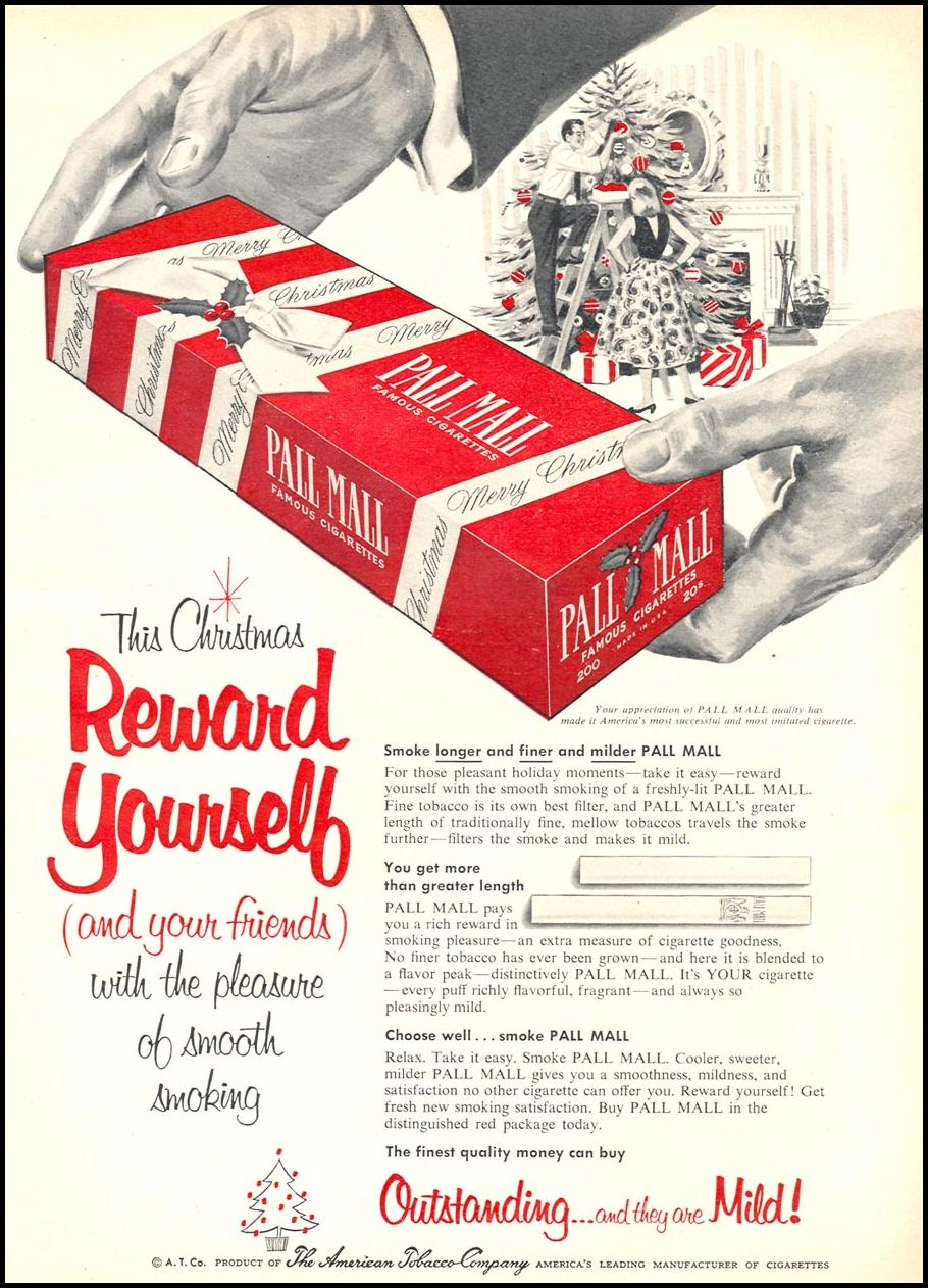 PALL MALL CIGARETTES WOMAN'S DAY 12/01/1954 p. 113