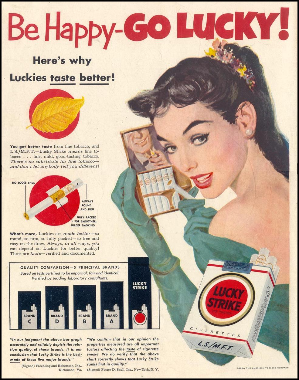 LUCKY STRIKE CIGARETTES LIFE 01/21/1952 BACK COVER