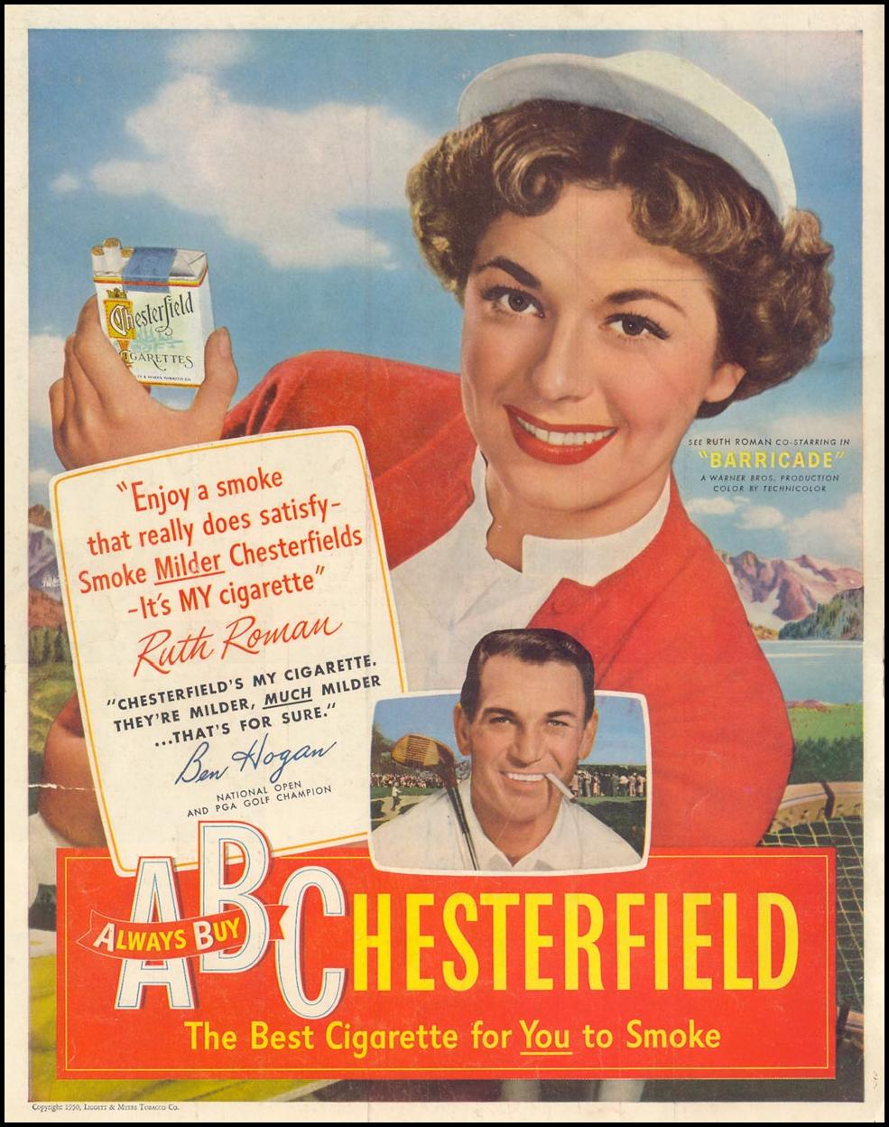 CHESTERFIELD CIGARETTES LIFE 06/05/1950 BACK COVER