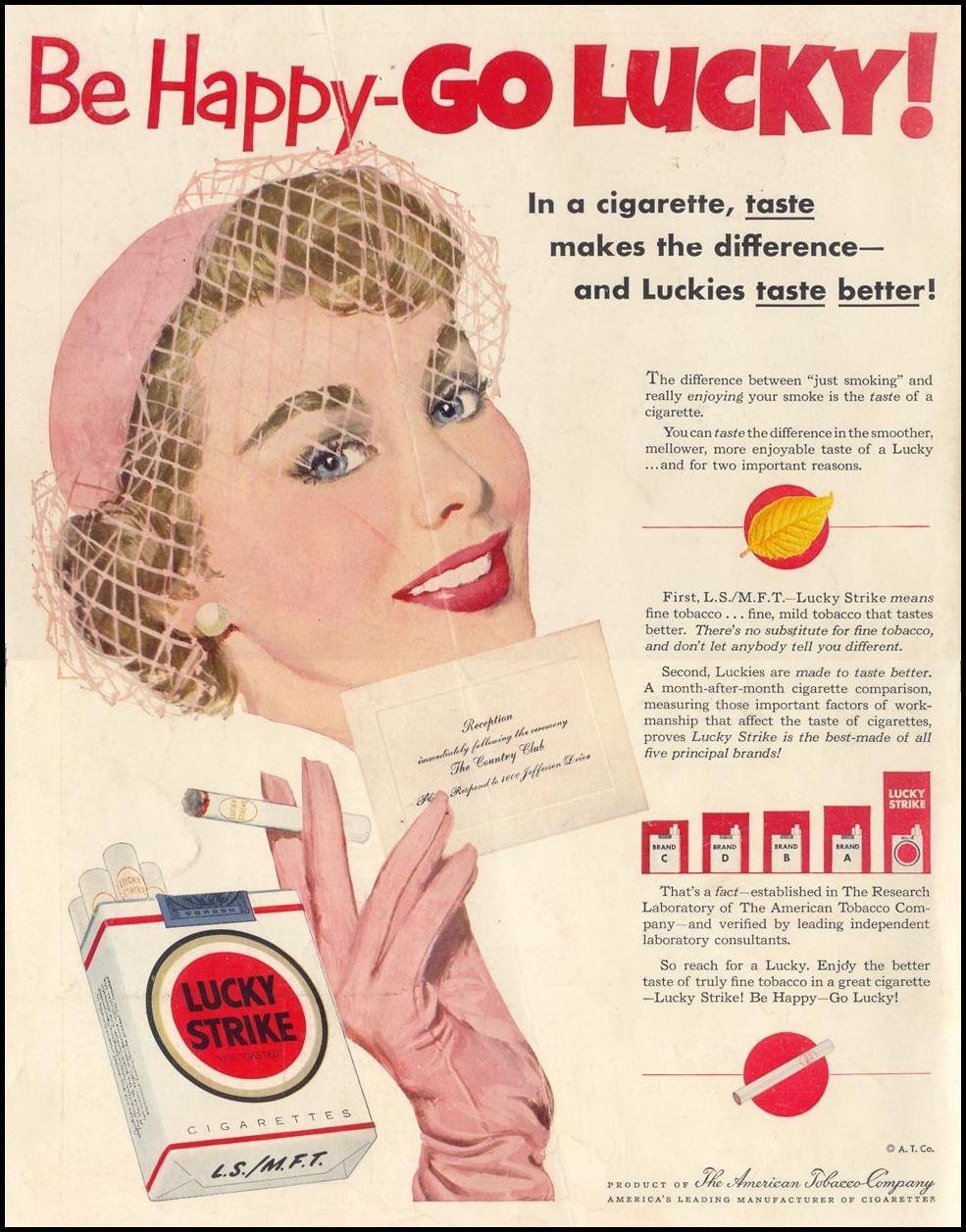 LUCKY STRIKE CIGARETTES LIFE 06/16/1952 BACK COVER