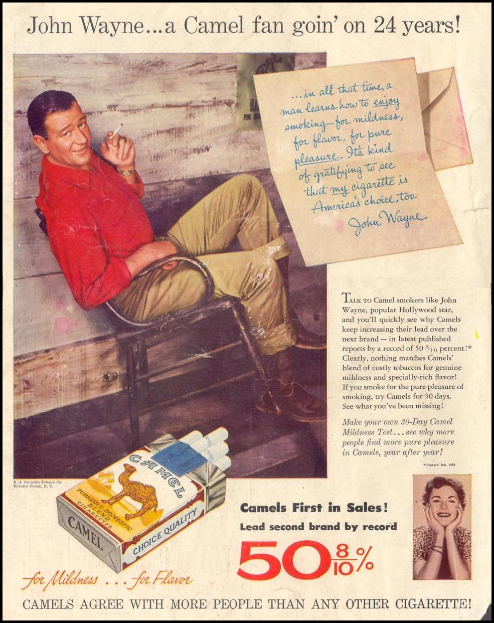 CAMEL CIGARETTES LIFE 07/12/1954 BACK COVER