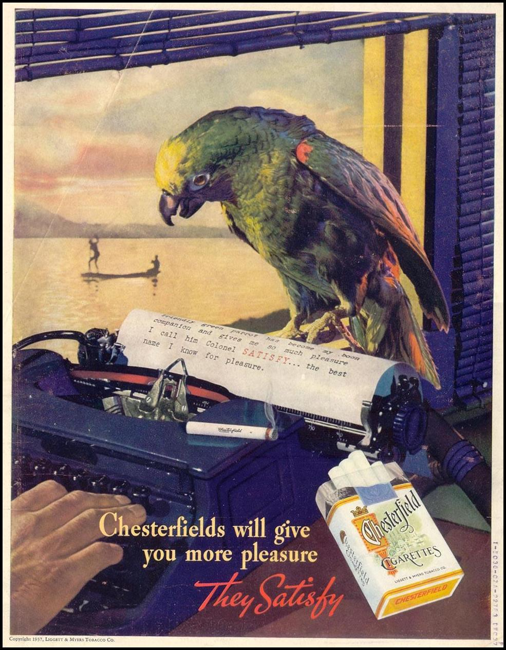 CHESTERFIELD CIGARETTES LIFE 09/20/1937 BACK COVER