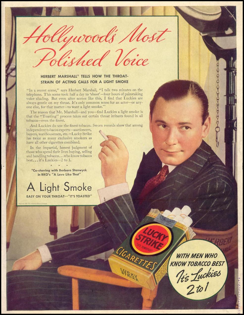 LUCKY STRIKE CIGARETTES LIFE 09/27/1937 BACK COVER