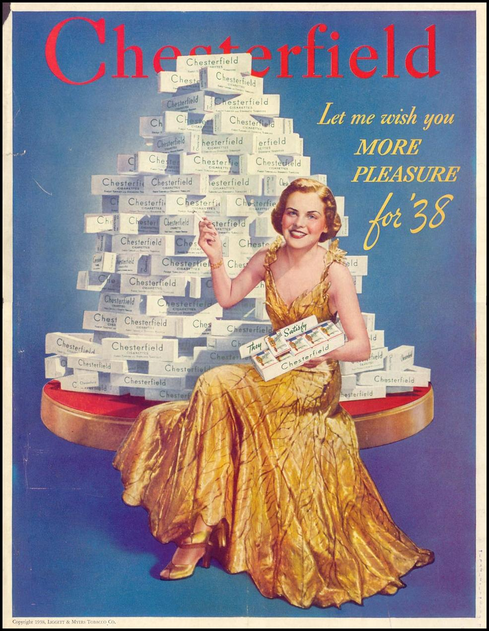 CHESTERFIELD CIGARETTES LIFE 12/27/1937 BACK COVER
