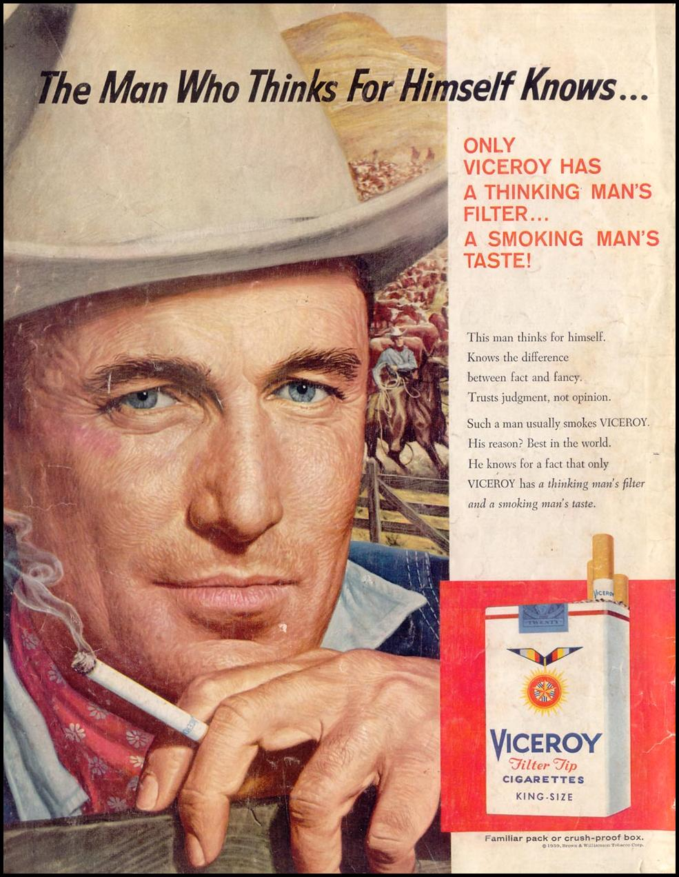 VICEROY CIGARETTES SATURDAY EVENING POST 05/02/1959 BACK COVER
