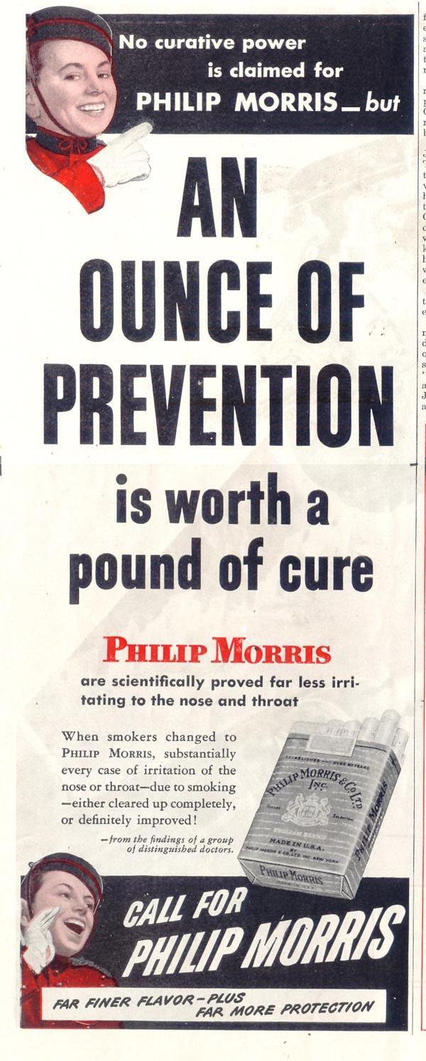 PHILIP MORRIS CIGARETTES SATURDAY EVENING POST 05/19/1945 p. 46