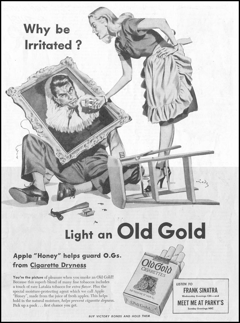 OLD GOLD CIGARETTES SATURDAY EVENING POST 10/06/1945 p. 45