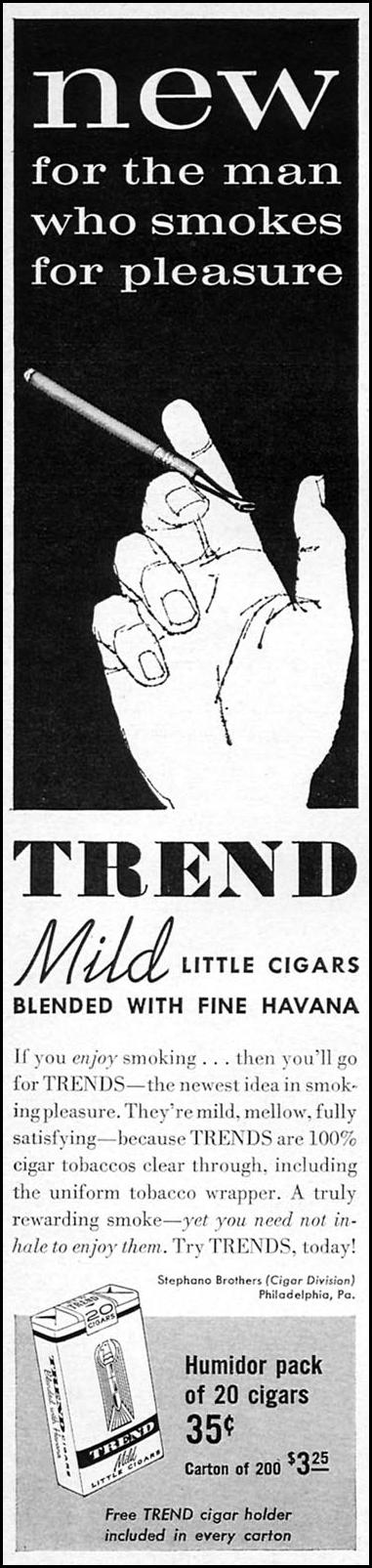 TREND MILD LITTLE CIGARS SPORTS ILLUSTRATED 05/25/1959 p. 4
