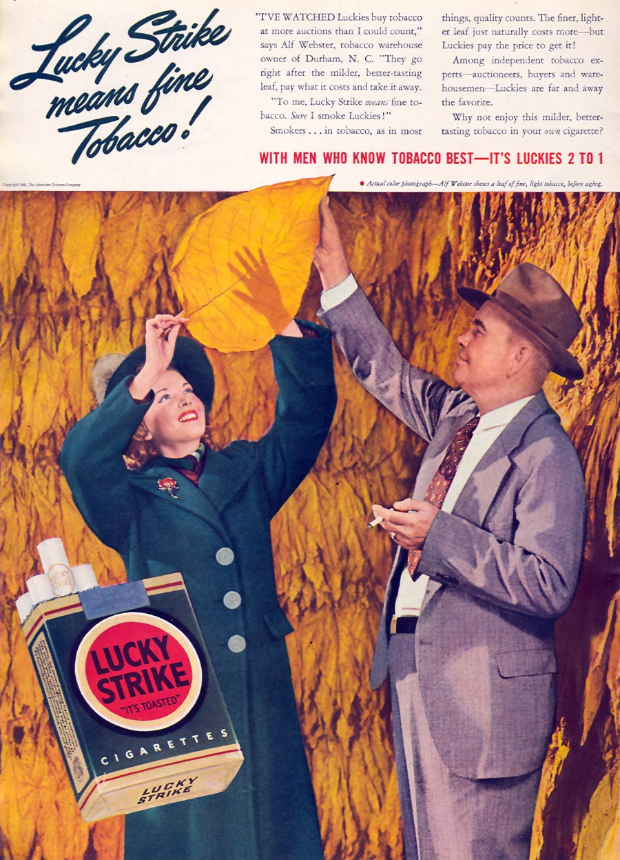 LUCKY STRIKE CIGARETTES TIME 01/12/1942 p. 22