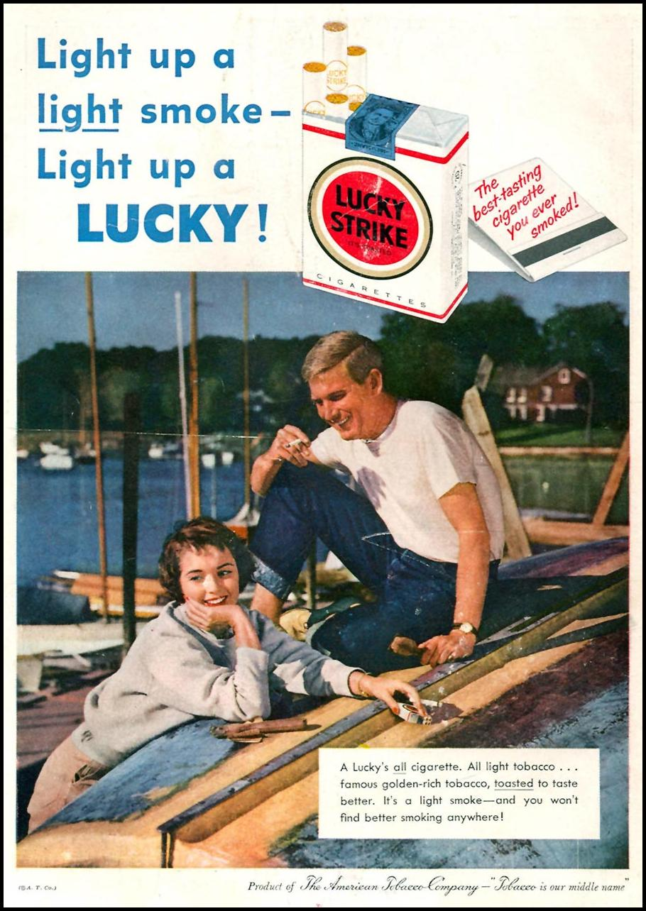 LUCKY STRIKE CIGARETTES TIME 05/05/1958 BACK COVER
