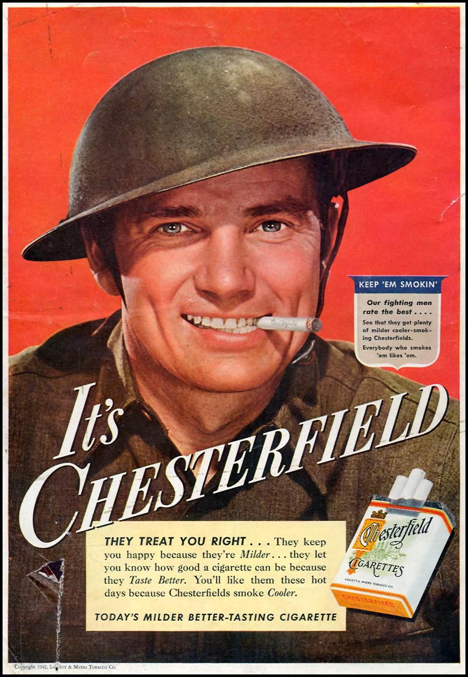 CHESTERFIELD CIGARETTES TIME 08/17/1942 BACK COVER