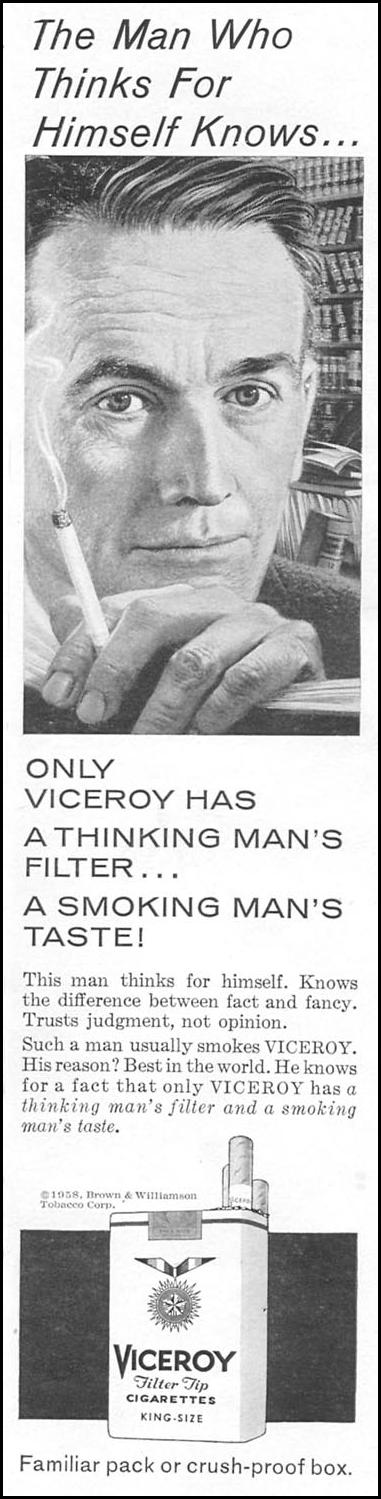 VICEROY CIGARETTES TIME 09/15/1958 p. 63