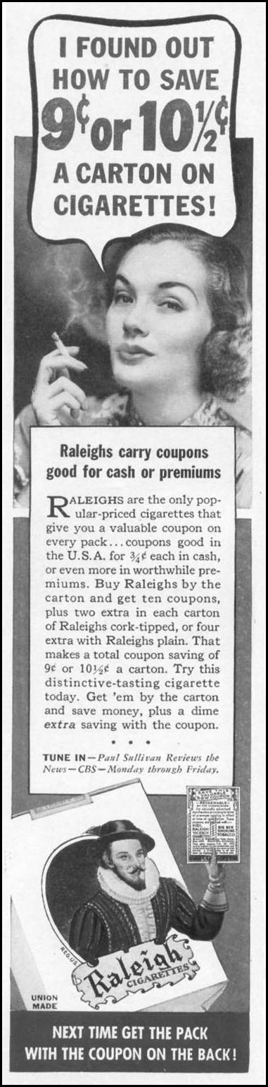 RALEIGH CIGARETTES WOMAN'S DAY 05/01/1941 p. 48