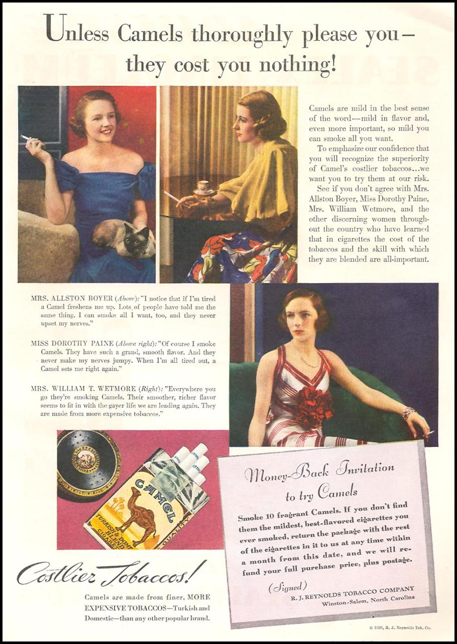 CAMEL CIGARETTES GOOD HOUSEKEEPING 04/01/1936 p. 149