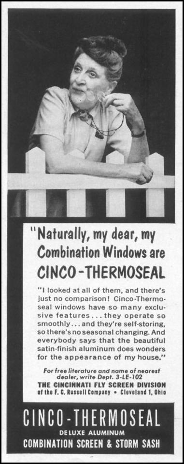 CINCO-SEAL DELUXE ALUMINUM COMBINATION WINDOWS LIFE 10/13/1952 p. 144