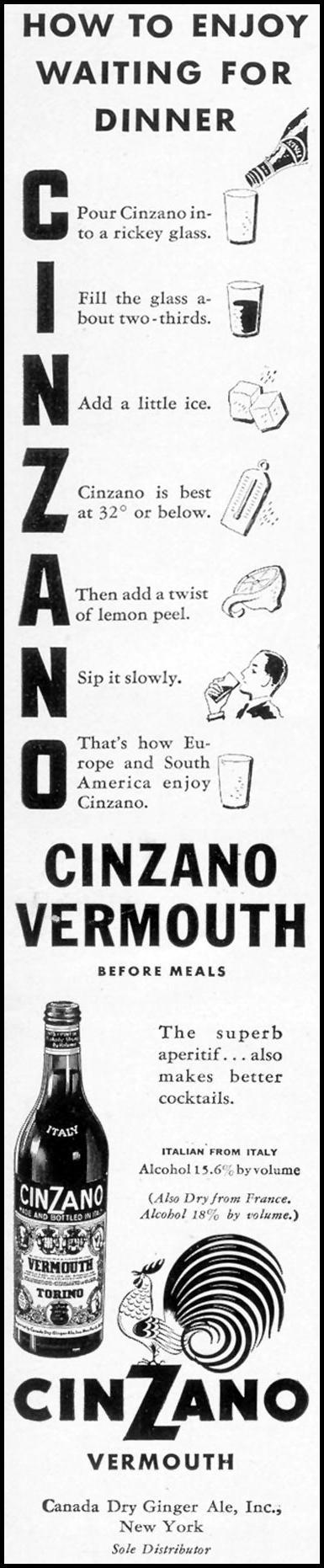 CINZANO VERMOUTH LIFE 12/12/1938 p. 65