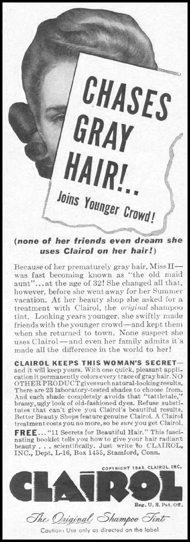 CLAIROL SHAMPOO HAIR TINT LIFE 10/25/1943 p. 116