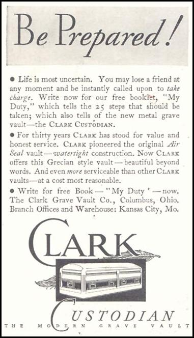 CLARK CUSTODIAN CASKET GOOD HOUSEKEEPING 11/01/1933 p. 206