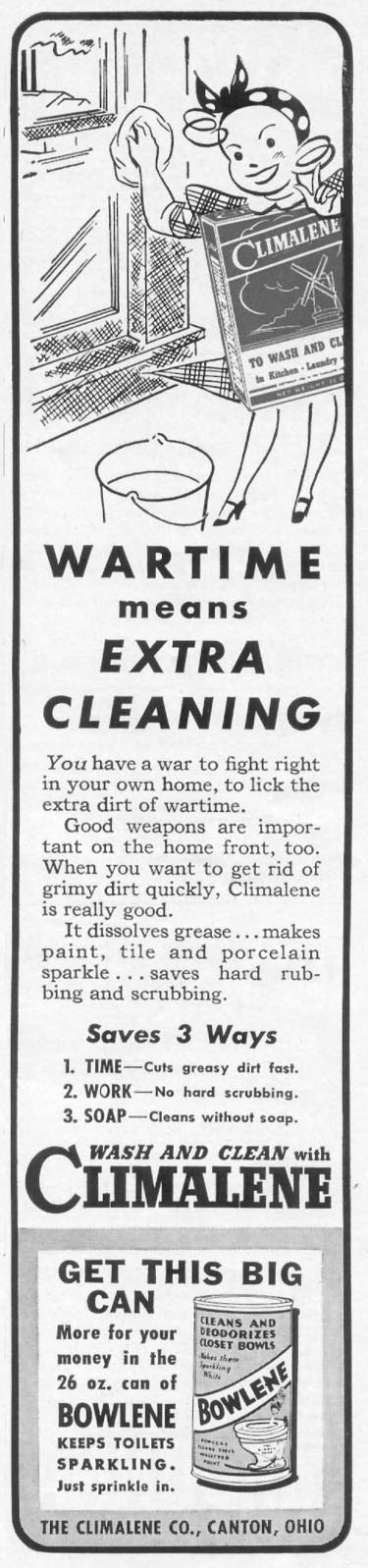 CLIMALENE HOUSEHOLD CLEANSER WOMAN'S DAY 09/01/1942 p. 73