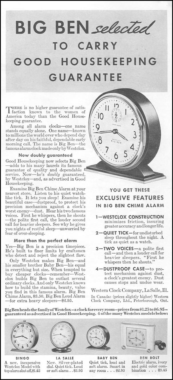 WESTCLOX CLOCKS GOOD HOUSEKEEPING 04/01/1936 p. 181
