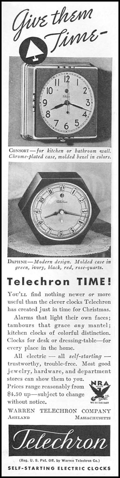 TELECHRON SELF-STARTING ELECTRIC CLOCKS GOOD HOUSEKEEPING 12/01/1933 p. 174