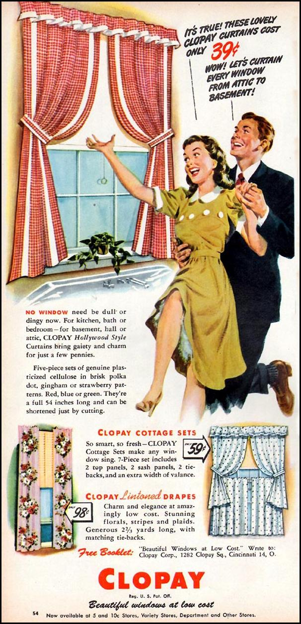 CLOPAY DRAPES AND CURTAINS WOMAN'S DAY 06/01/1947 p. 54