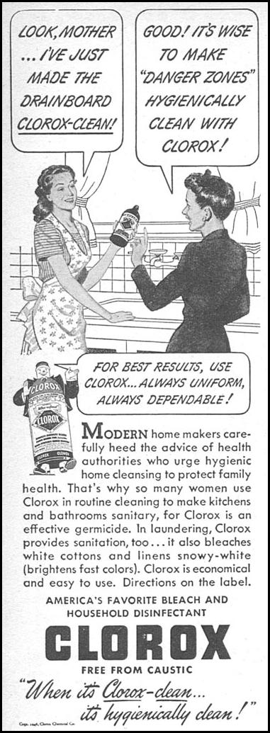 CLOROX BLEACH WOMAN'S DAY 05/01/1946 p. 86