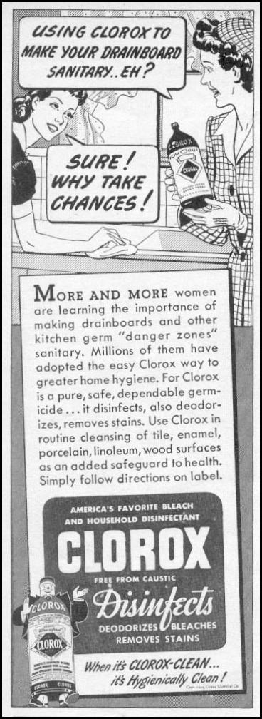 CLOROX BLEACH WOMAN'S DAY 11/01/1945 p. 84