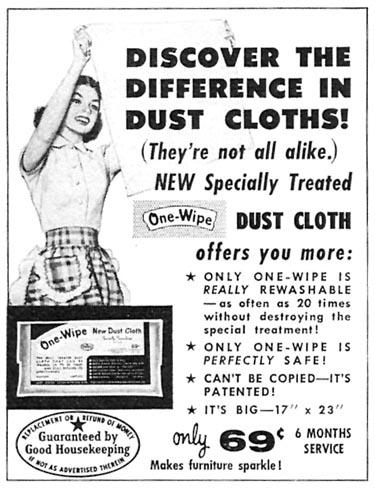 ONE-WIPE DUST CLOTHS FAMILY CIRCLE 02/01/1957 p. 84