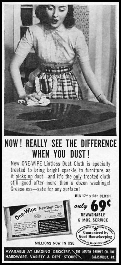 ONE-WIPE DUST CLOTHS WOMAN'S DAY 10/01/1956 p. 144