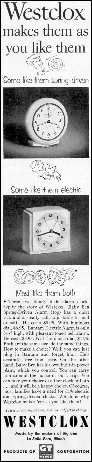 WESTCLOX ELECTRIC CLOCKS LIFE 09/07/1953 p. 104