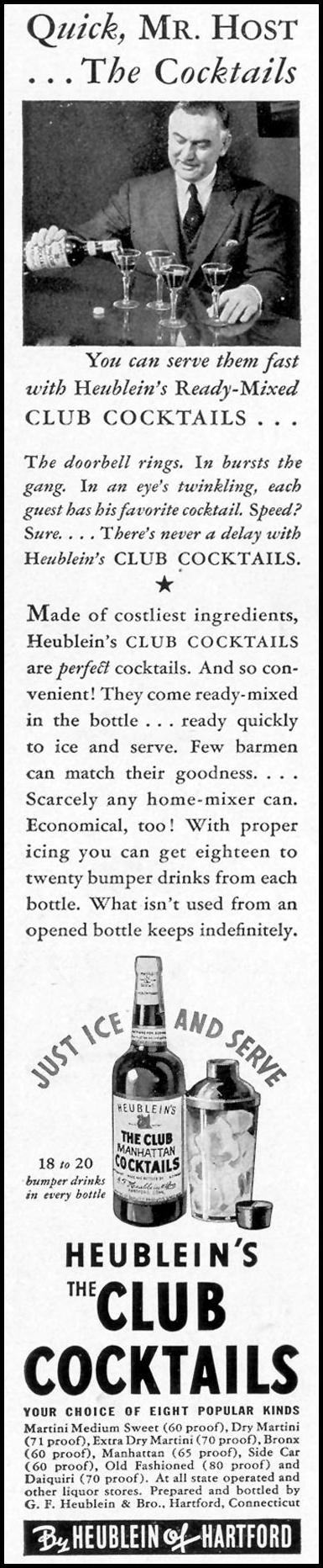 HEUBLEIN'S CLUB COCKTAILS LIFE 09/20/1937 p. 110