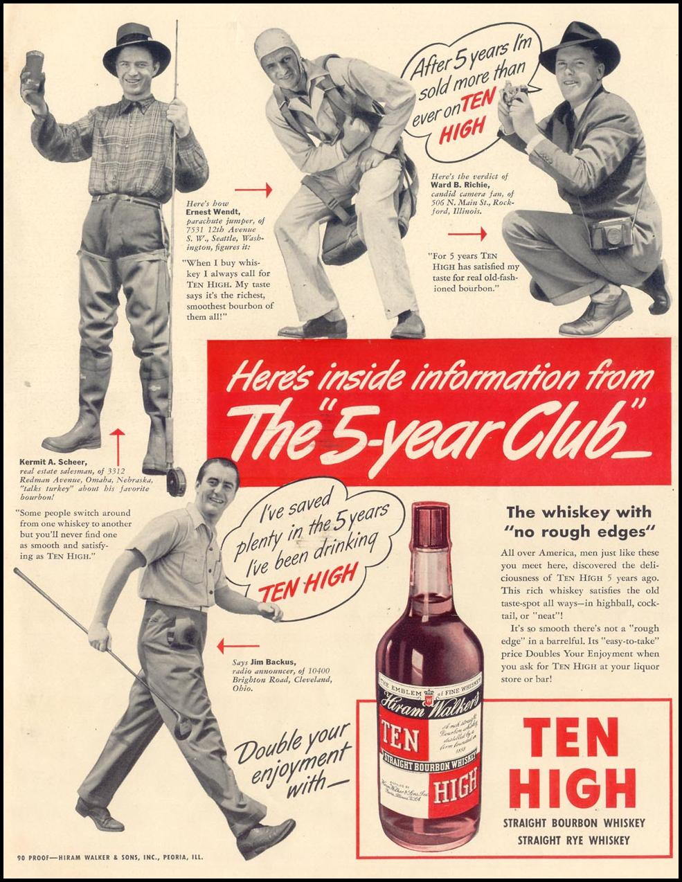 HIRAM WALKER'S TEN HIGH BOURBON WHISKEY LIFE 09/30/1940