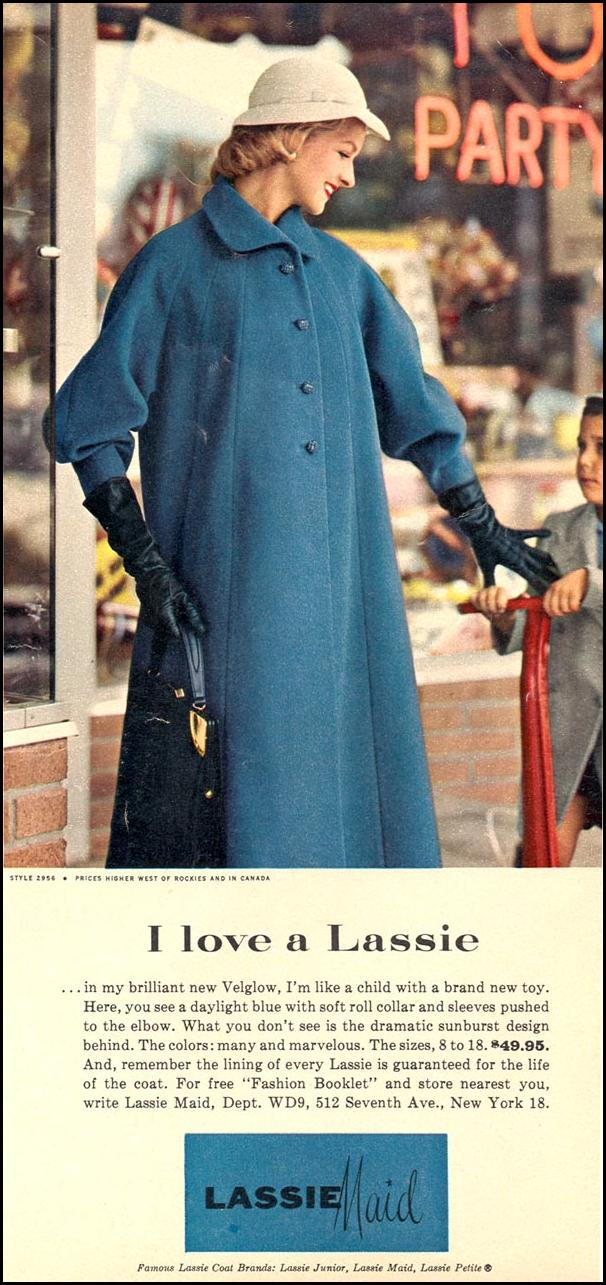 LASSIE MAID COATS WOMAN'S DAY 09/01/1955 p. 25