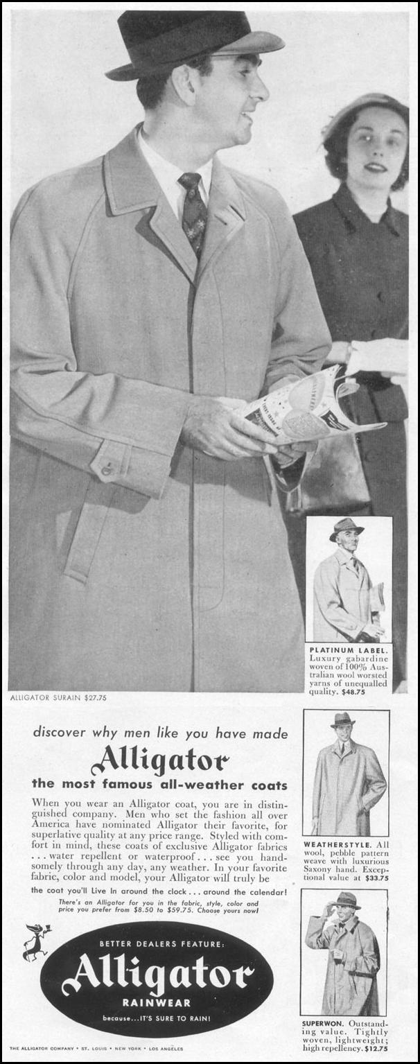 ALLIGATOR RAINWEAR LIFE 10/13/1952 p. 56
